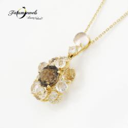 sarga-arany-fustkvarc-topaz-gyemant-medal-lanccal-agy213-gyemant